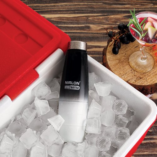 Stainless Steel Color Bottle 1000 Ml Freezer Bottle, Black And White Stainless Steel Bottle