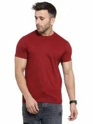 Maroon Party Wear Mens Stylish Cotton T Shirt