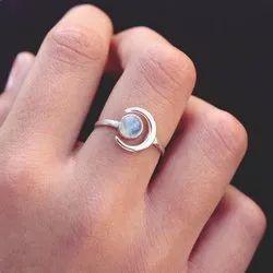 Natural Rainbow Moonstone Beautiful Cabochon Moon Semi Precious Gemstone Ring