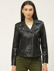Full Sleeve Plain Ladies Collar Black Leather Jacket