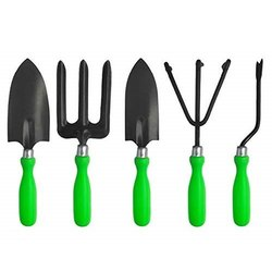 Truphe 5 Pcs Tool Set - Weeder, Small Trowel, Big Trowel, Cultivator, Fork (Green) TS05MGR-000GT