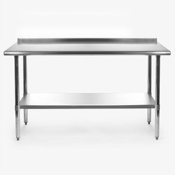 Polished Stainless Steel Working Table, For Restaurants