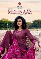 Tanishk Fashion Mehnaaz Jam Cotton Embroidered Dress Material Catalog
