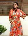 Bird Print Cotton short Kimono Robe