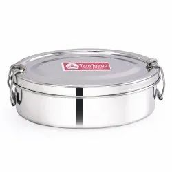 Stainless Steel Oval Shaped Lunch Box with Steel Separator Plate and Locking Clip System
