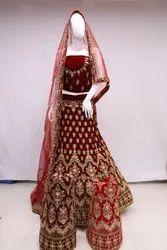 MARROM Embroidery Designer Wedding Dress, Size: Free