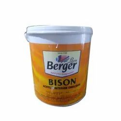 Smooth and Matt White Berger Bison Acrylic Interior Emulsion, Packaging Size: 4 Litre