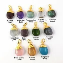 Gemstone Smooth Tumble Charm Pendants