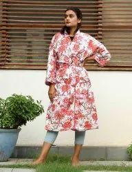 Bird Print cotton short kimono