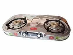 Stainless Steel 2 Burner Gas Stove, For Kitchen, Model Name/Number: Power Plus