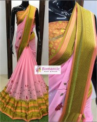 Printed Casual Wear Satin Patta Georgette Saree, 6.3 M (with Blouse Piece), Machine Made