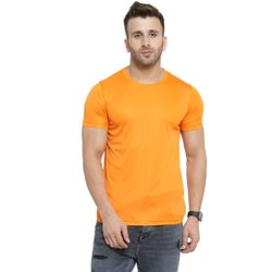 Boys Yellow Micro Polyester Round Neck T-Shirt