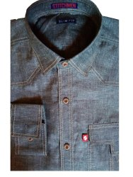 Collar Neck Plain Stichmen Denim Men Shirt