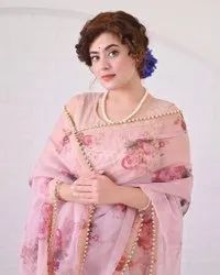 PRESENT GEOGGAT SAREE WITH DIGITAL PRINT AND MOTI LACE BRODER