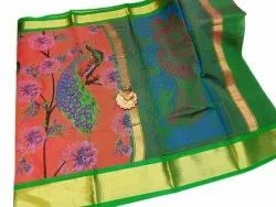 Party Wear Printed Chanderi Silk Saree, 6 m (with blouse piece)