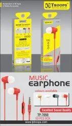 MOBILE TABLET LAPTOP RED BLUE GOLDEN TP Troops Music Earphone 7050 (Box-50) Earphone, Model Name/Number: TP-7050