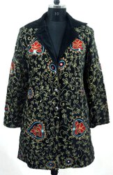 Indian Velvet Bohemian Embroidered Hippie Jacket, Jacket, Long Jacket, Embroidered Jacket for Woman