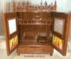 Brown Wooden Haveli Mandir, For Home