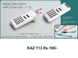 Solar Calculator With 3 Pen Set