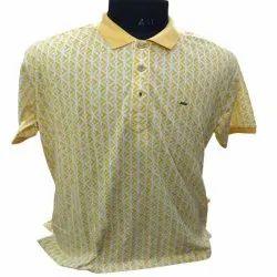 Half Sleeves Men Yellow Printed T Shirt, Size: S-XL