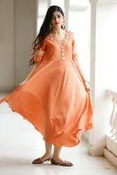 Party Wear Anarkali Designer Muslin Kurti, Wash Care: Machine Wash