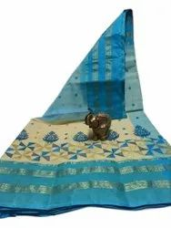 Party Wear Mahapar Embroidery Shantipuri Tant Saree, With Blouse, 5.5 Meter