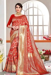 Wedding Wear Ladies Kanjivaram Pure Silk Saree, Dry clean, 6.3 m ( with blouse piece)
