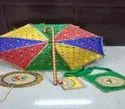 Rich Embroidery Silk Kasiyatra Decorated Wedding Umbrella Set