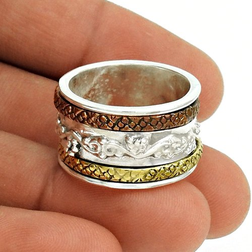 925 Sterling Silver Ring With Copper Brass