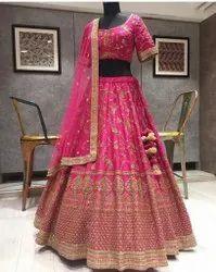 Present Tafeta Silk Lahenag Choli With Embroderi Work