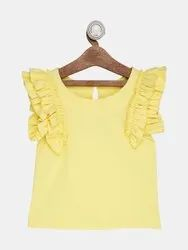 Yellow 100% Cotton Top For Kids Girl