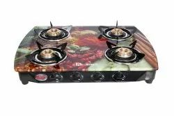Glass Quba Gas Stove B4 Pearl Plus For Kitchen