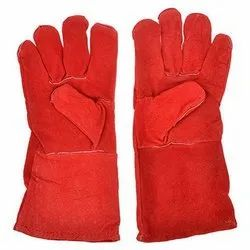 Leather Hand Gloves Red