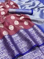 Party Wear New Lichi Silk Saree, With blouse piece, 5.5 m (separate blouse piece)