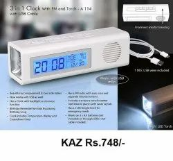 3 in 1 Clock Wth FM And Torch