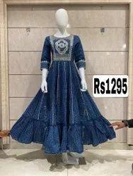 Fancy Blue Color Cotton Silk Frock Kurti With Mask - Arihant