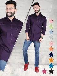 Karan's Formal Wear Mens Collar Neck Plain Cotton Shirt