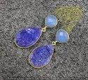 Blue Chalcedony with Blue Druzy Gold Plated Earning