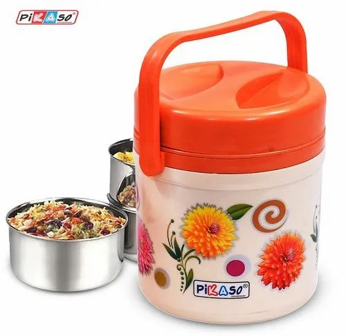 PIKASO Polypropylene Tiffin, 3 SS containers