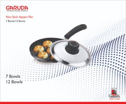 Stainless Steel Silver,Black Non Stick Appam Pan, For Cooking, Capacity: 7 Bowls