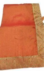 Wedding Wear Embroidered Ladies Fancy Orange Silk Saree, 6 m (with blouse piece)