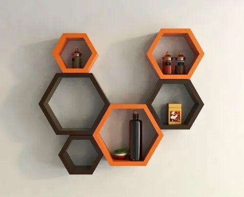 Hexagonal Shape Wall Shelf Set of 6