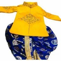 Yellow and Dark Blue Party Wear Kids Dhoti Kurta, 2-3 Years