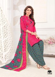 Stitched Red and Green Ladies Cotton Suit, For Clothing, Handwash