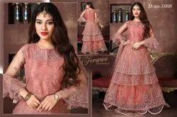 Peach Embroidered Wedding Wear Designer Ladies Gown, Size: M,Xxl