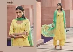 Hand Work Linen Omtex Party Wear Suits, Size: Free Size