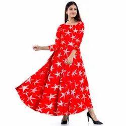 Printed Red Rayon Dress, Size: Free Size
