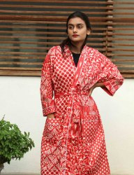 Red Patchwork cotton Short Kimono Robe