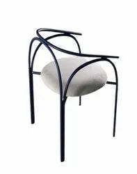 Jassi Brothers Black + White Designer Powder Coated Iron Chair, For Cafe