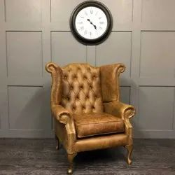 Modern Leather Wing Chair vintage tan, For Home